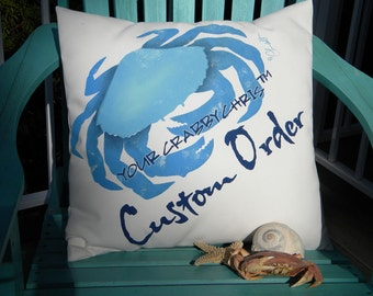 CUSTOM FOR WENDI two awesome pillows per our discussions multicolor Crabby Chris Originals
