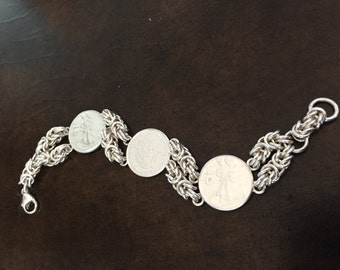 Sterling Silver Byzantine Link Walking Lady Liberty Coin Hand Forged Bracelet