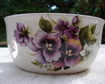Elegant Purple Pansies! Large Ceramic Yarn Bowl / Yarn Holder