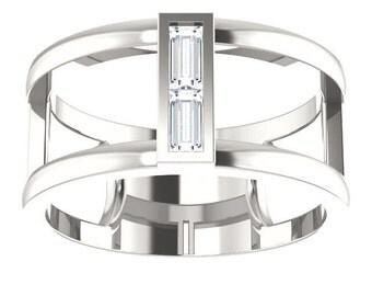 Moissanite Double Baguette Band Ring, Negative Space Ring, April Birthstone Ring, Diamond alternate