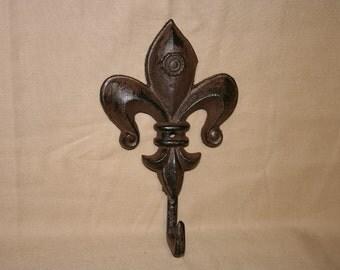 Fleur de Lis hook rusty primitive or pick your color cast iron hook