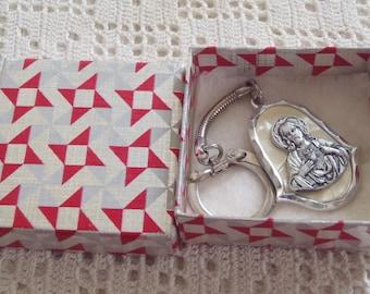 Vintage Keychain Sacred Heart Italy Original Box