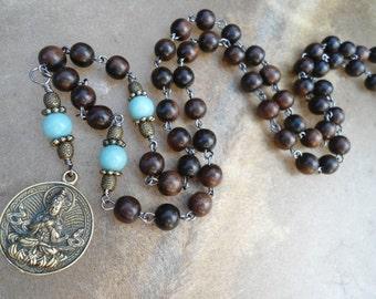 Mala Beads Buddha Mala Necklace Buddhist Gift Buddhist Necklace  Zen Meditation Gift  Rosary Wrapped Prayer Beads  Amazonite Tiger Ebony