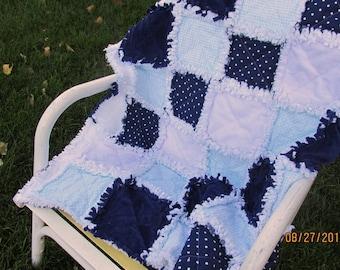 Baby boy rag quilt, minky, navy blue, polka dots