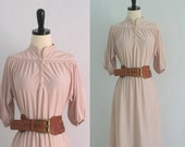 Vintage 1970s Dress 70s Dress Boho Dress Womens Dresses 1970s Clothing Pink Blush Dress Womens Size Small