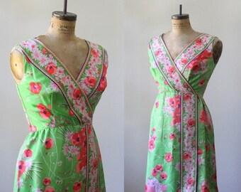 Vintage 1960s Dress 60s Dress Womens Summer Dress Green Floral Dress Bridesmaid Dress Sleeveless Womens Dress Size Large