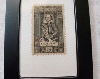 Shakespeare, Vintage Stamp, Framed Stamp, Shakespeare Stamp, Romeo and Juliet, Thespian, Collectible postage stamp