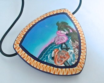 Flamingo Brooch, Flamingo Pendant, Tropical Pendant, Shield Pendant, Polymer Clay, Custom Jewelry, Handmade Necklace, Millefiori Pendant