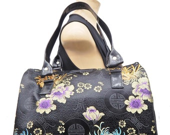 "USA Handmade Handbag Doctor bag Satchel Style ""Flowers ""  Pattern HandBag Purse,NEW"