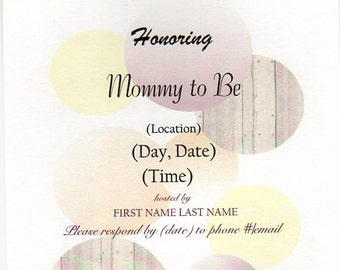 25 Double Sided Rustic Baby Shower Invitations