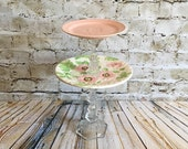 SALE,Tiered tray, Pink Cup cake stand, jewelry tray,Dessert stand, dessert tray, tray,  wedding tray,Baby shower tray, Shabby chic  tray,