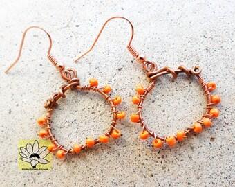 Small Copper Beaded Pumpkin Earrings Wire-wrapped Handmade Halloween Orange By Distinctly Daisy