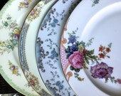 Vintage China Dinner Plates for Tea Parties, Bridal Luncheons, Showers, Mismatched Tea Set, China Tea Set, Alice in Wonderland