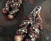 Tangled in Red, Copper, Silver, Redline Marble, Rhinestone chain, and Garnets, ThePurpleLilyDesigns