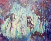 Girlfriends Original Small Painting  In a Forest With Trees - blue, teal, purple, eggplant, mauve, grey