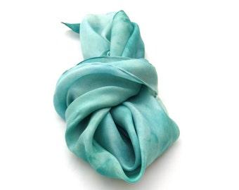 Caribbean blue scarf, silk scarf, hand dyed scarf, Turquoise scarf, Teal scarf, hand paint scarf, feminine, Fashion scarf, Summer scarf,