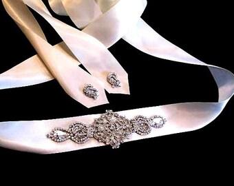 Daphe Bridal Dress Gown Beaded Jeweled Crystal Belt Sash