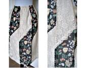 Vintage 70s hippie ,bohemian, festival, peasant skirt - lace - elastic waist - floral on black
