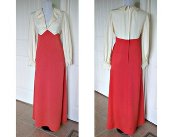 Vintage 19 50s or 60s block color full length  evening dress bust 36