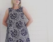 Black and White  Hovinaiset Marimekko Fabric Trapeze Dress
