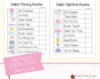 CUSTOM - Morning and Nighttime ROUTINE/CHORE Charts for Girls