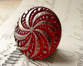 27mm round pinwheel, scarlet red, deep red, blood red, Czech glass shankless button, hand painted, hand forged, flat back cabochon