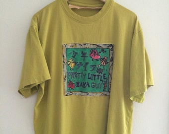 Super Rare Handpainted Shonen Knife vintage T Shirt Hand Sewn Patch vintage basic 90s Oversized Grunge