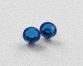 CLEARANCE - Round Sapphire Blue Stud Earrings