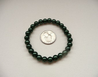nbs-Dark Green Pearl Stretch Bracelet