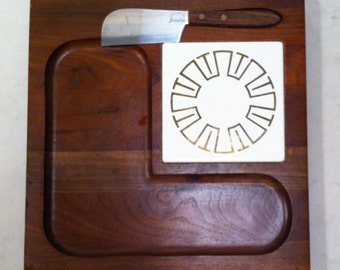 Vintage Cheese Board by Vermillion of Solid Walnut with Knife & Ceramic Tile
