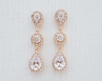 Rose Gold Bridal Earrings Crystal Wedding Jewelry Teardrop Cubic Zirconia Post Rose Gold Wedding Earrings Bridal Jewelry, Rita