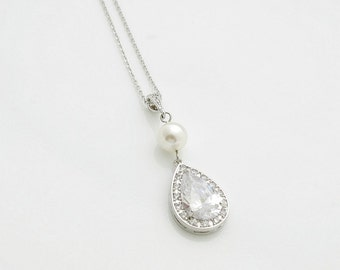 Bridal Necklace Crystal Pendant Bridal Jewelry Large Cubic Zirconia Teardrop Pearl Pendant Wedding Jewelry, Seema