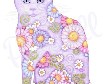 Diva Daisies- Violet Cat with Violet Eyes