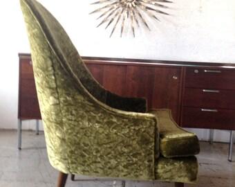 Retro Chair Mid Century Danish Modern High Back Scoop Green Velvet Lounge Chair 1960s Green Pearsall Style Living Room Chair