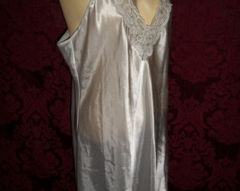 Vintage 90s Satiny Lace Chiffon Beaded Camisole Nightgown Size Large