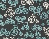 "PUL Waterproof Fabric Cut 18 x 20"",  Michael Miller Bicycles in Blue White Gray, Cloth Diaper Cut, OOP Destash"