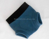 Medium Anti-Pill Fleece Fitted Diaper Cover/Soaker/Underpant/Trainer/Cloth Pull Up, Slate Blue and Black, Vegan, Ready to Ship