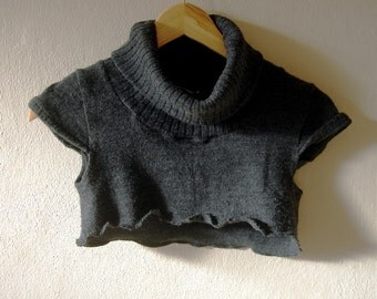 Charcoal crop top sweater Turtleneck Sweater grey cropped sweater Knit short sleeve sweater womens cropped top girls sweater