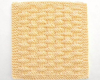 Cotton Dishcloth, Knit Dishcloth, Face Cloth, Yellow Kitchen Decor, Basketweave Dishcloth