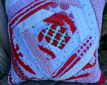Red White Vintage Chenille Patchwork Pillow Handmade Doodaba Lake Patio
