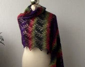Multicolor striped hand knitted lace shawl, knit scarf, knitted lace stole, New Year SALE 15% OFF