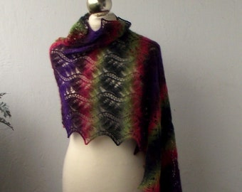 15% OFF Multicolor striped hand knitted lace shawl,knit scarf
