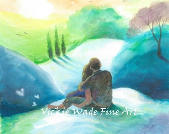 Lovers Art Print, imagine, loving couple, evening, sunset, green, teal, blue, romantic couple hugging, landscape, wall art, Vickie Wade Art
