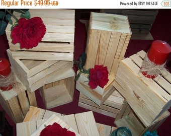 ON SALE Wood Crates rustic 5 wedding reception centerpiece planter reclaimed wooden mason jar vases barn country wedding decorations crates