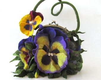 Felted handbag flower Pansy  flower Pansies  Original bag Felted handbag felt purse  unique handbag under 100