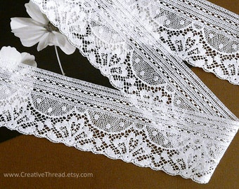 "5 7/8 Yards, English Vintage Heirloom Lace, Delicate Cotton Lace Edging, Doll Lace, Bridal Lace, Lingerie Lace, 1 3/4"" Wide - White - N91"