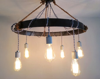 Whiskey Barrel Ring Chandelier - Rustic Industrial Lighting - Exposed Edison Bulb Fixture