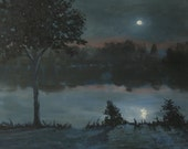 "Original oil painting, moon painting, moon reflection in lake, nocturne landscape, 11""x14"""