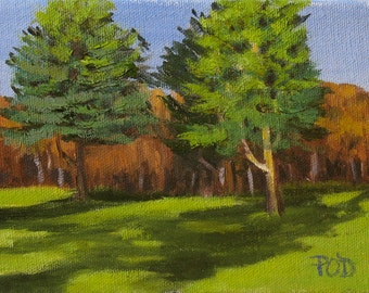 """Art and Collectibles, small oil painting , 5""""x7"""" original painting, pine trees"""