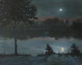 Original oil, landscape painting, moon painting, 11x14